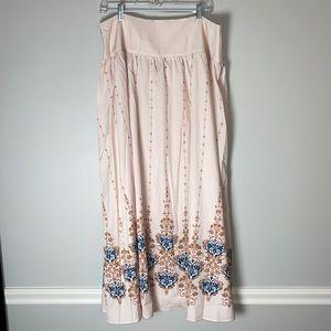 NWOT Shein 2XL Maxi Skirt Cream Blue